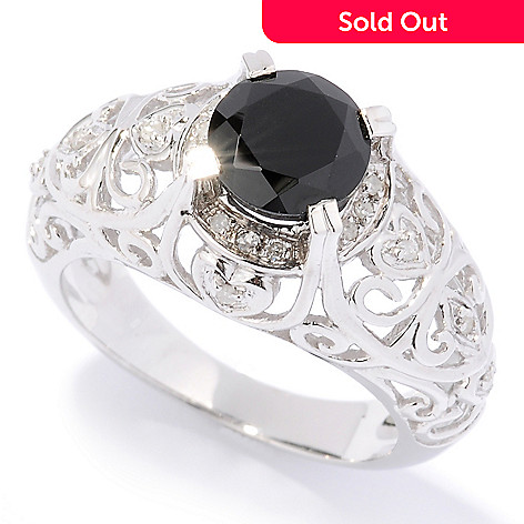 125-892 - Gem Treasures Sterling Silver 2.08ctw Black Spinel & Diamond Cutout Shank Ring