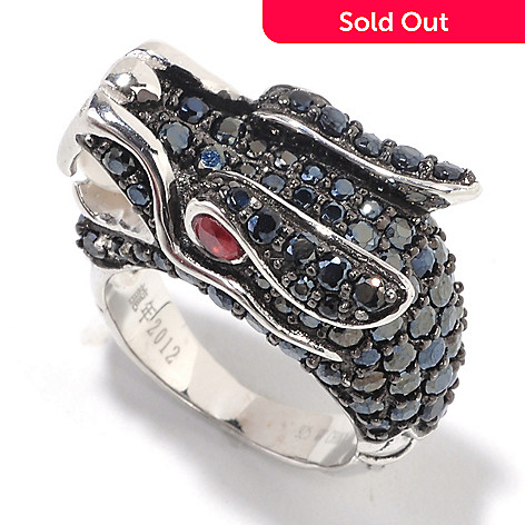125-896 - Sterling Silver Black Spinel, Freshwater Cultured Pearl & Garnet Dragon Ring