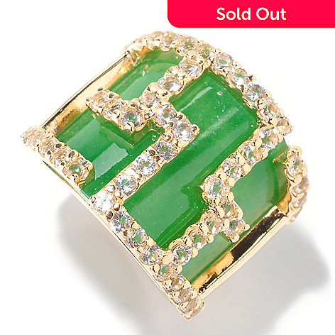 125-897 - 14K Gold embraced™ 18 x 20mm Green Jade & White Topaz Geometric Ring