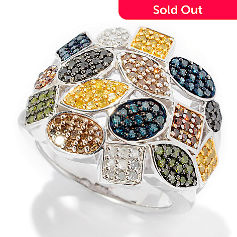 125-901 - Diamond Treasures Sterling Silver 1.00ctw Multi Color & Shape Diamond Ring