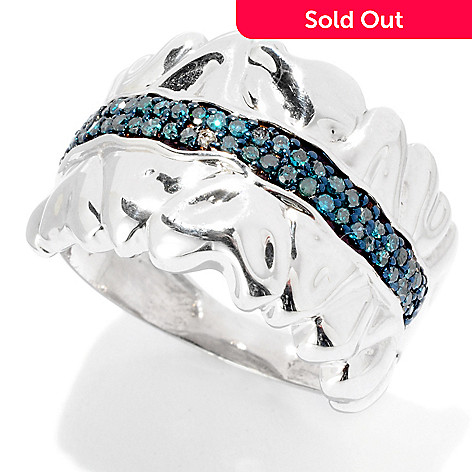125-904 - Diamond Treasures® Sterling Silver 0.25ctw Blue Diamond Wavy Heart Band Ring