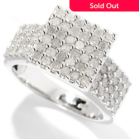 125-908 - Diamond Treasures Sterling Silver 1.10ctw Square Top Diamond Ring