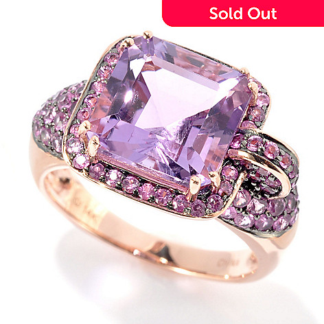 125-910 - Gem Treasures® 14K Rose Gold 5.42ctw Amethyst & Pink Sapphire Abstract Halo Ring