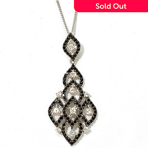 125-917 - Gem Treasures Sterling Silver 1.14ctw Black Spinel & White Zircon Pendant