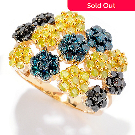 125-919 - Diamond Treasures® 14K Gold 2.20ctw Multi Color Diamond Flower Station Ring
