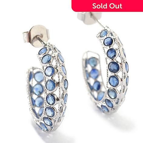 125-925 - Gem Treasures® Sterling Silver 2.80ctw Blue Sapphire Small Hoop Earrings