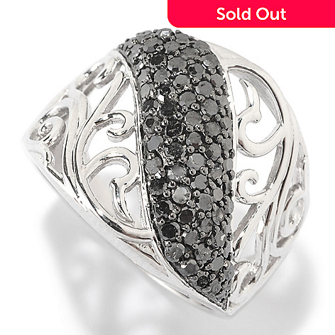 125-934 - Diamond Treasures Sterling Silver 0.90ctw Black Diamond Scroll Cut Out Ring