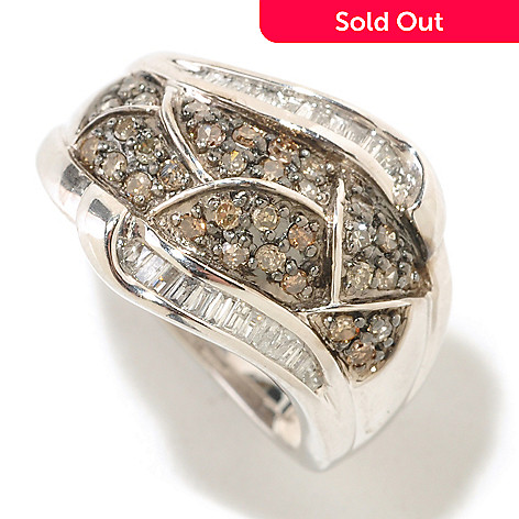 125-936 - Diamond Treasures 14K White Gold 0.52ctw Champagne & White Diamond Abstract Ring