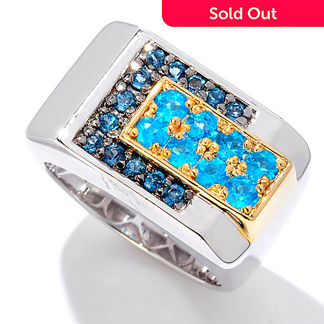 125-938 - Men's en Vogue 1.32ctw Neon Apatite & London Blue Topaz Ring