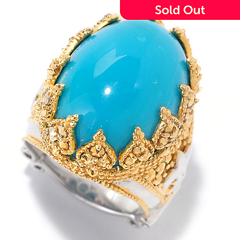 125-939 - Dallas Prince 20 x 15mm Oval Turquoise & Chrome Marcasite Crown Ring
