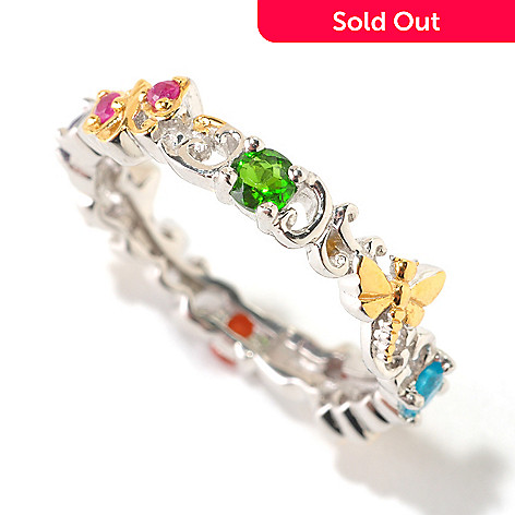 125-958 - Gems en Vogue Multi Gemstone Critter Stack Ring