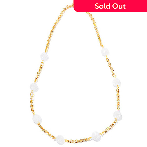 125-959 - Milano Luxe Gold Embraced™ 28'' Crackled Rock Crystal Quartz Station Necklace