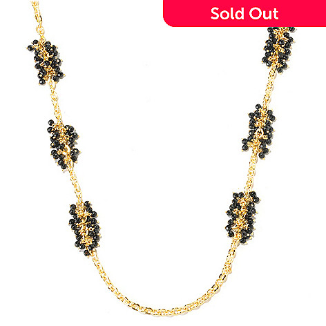 125-965 - Milano Luxe Gold Embraced™ 30'' Black Onyx Bead Cluster Station Necklace