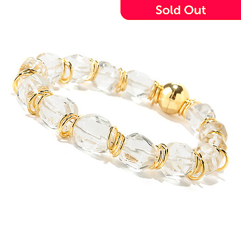 125-967 - Milano Luxe Gold Embraced™ 8'' Clear Quartz Nugget & Rondelle Station Bracelet