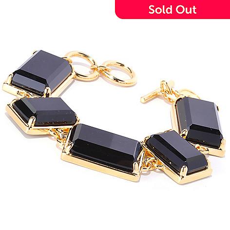 125-974 - Milano Luxe Gold Embraced™ Black Onyx Geometric Link Bracelet