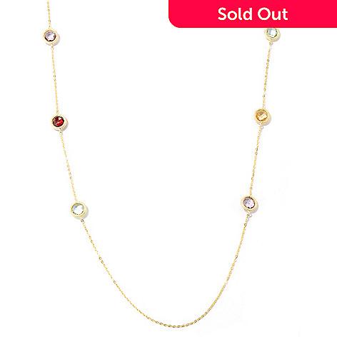 125-982 - SempreGold™ 14K 32'' Multi Gem Station Necklace