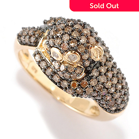 125-985 - Gem Treasures® 14K Gold 1.40ctw Mocha Diamond Monkey Ring