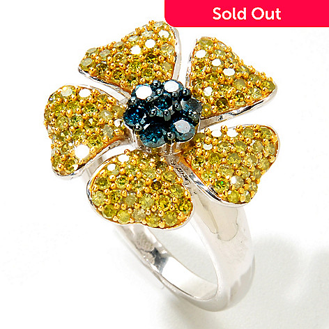 125-986 - Diamond Treasures Sterling Silver 1.50ctw Yellow & Blue Diamond Flower Ring