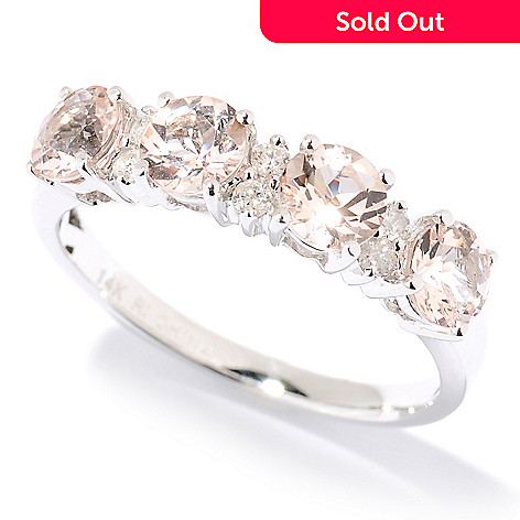 125-994 - Gem Treasures® 14K White Gold Gemstone & Diamond Band Ring