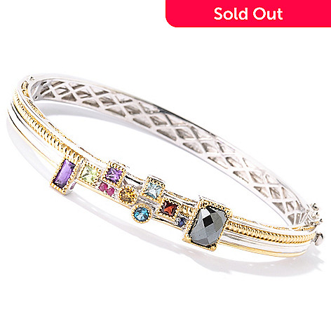 126-004 - Gems en Vogue Multi Gemstone ''Manhattan'' Hinged Bangle Bracelet