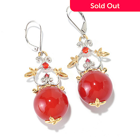 126-011 - Gems en Vogue 16mm Carnelian, Orange Fire Opal & Sapphire 2'' Drop Earrings