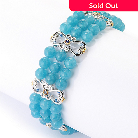126-012 - Gems en Vogue Three-Row Beryl Bead & Sapphire Fancy Station Link Bracelet