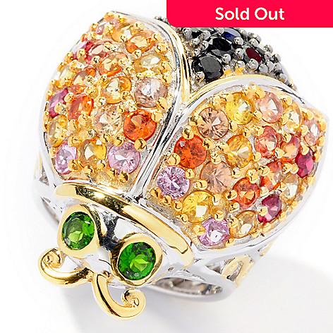 126-013 - Gems en Vogue 4.08ctw Multi Sapphire, Spinel & Chrome Diopside Ladybug Ring