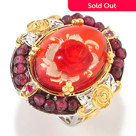 126-014 - Gems en Vogue 10.98ctw Hand Carved Amber, Ruby & Garnet Ring