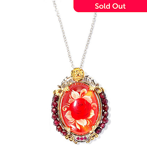 126-015 - Gems en Vogue Hand Carved 13.86ctw Carved Amber, Ruby & Garnet Pendant