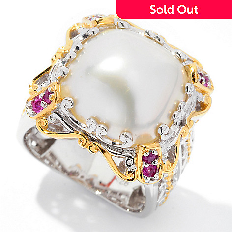 126-016 - Gems en Vogue II Cushion Mabe Cultured Pearl & Pink Sapphire Ring