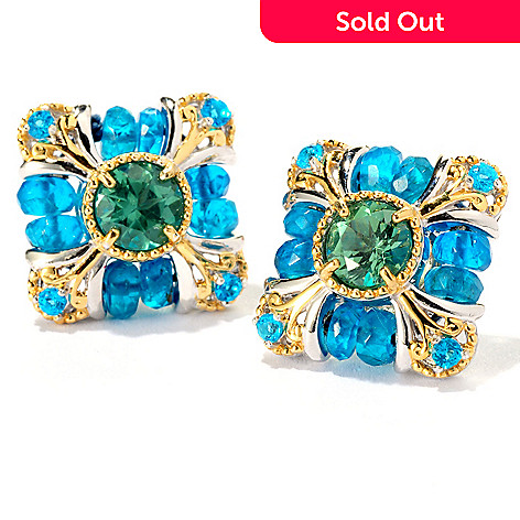 126-017 - Gems en Vogue Multi Apatite Square Button Earrings