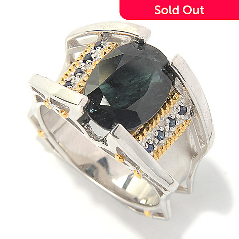 126-026 - Men's en Vogue Black & Blue Sapphire Matte Finished Ring