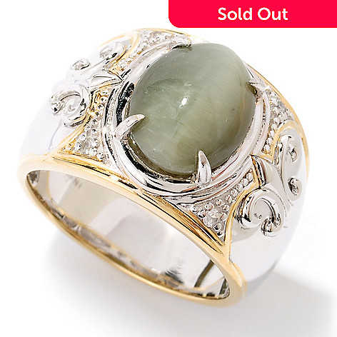 126-028 - Men's en Vogue 2.79ctw Green Cat's Eye Opal & White Sapphire Ring