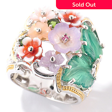 126-029 - Gems en Vogue Multi-Gemstone Leaf & Flower Ring