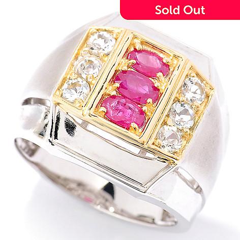 126-030 - Men's en Vogue 1.74ctw Ruby & White Topaz Ring