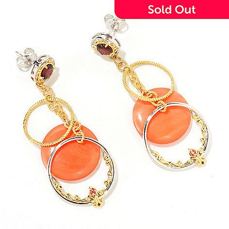126-031 - Gems en Vogue 22.30ctw Bamboo Coral, Red Garnet & Orange Sapphire Drop Earrings