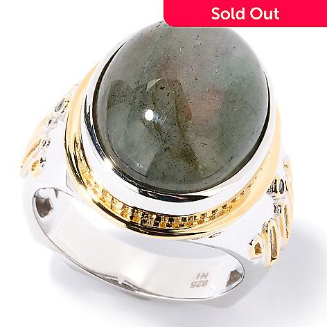 126-032 - Men's en Vogue 15.89ctw Green Labradorite & Black Diamond Ring