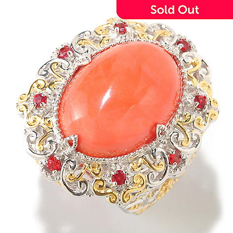 126-033 - Gems en Vogue II 12.17ctw Bamboo Coral & Orange Sapphire Ring