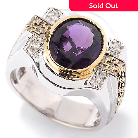 126-034 - Men's en Vogue 3.98ctw Amethyst & White Sapphire Cross Detail Ring