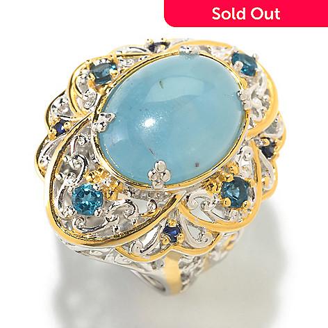 126-035 - Gems en Vogue 16mm x 12mm Oval Aquamarine Cabochon & London Blue Topaz Ring
