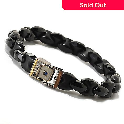 126-039 - Men's en Vogue Black Agate & Sapphire Clasp Link Bracelet