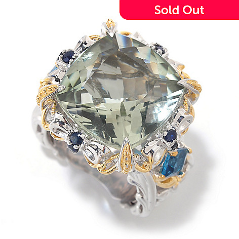 126-042 - Gems en Vogue 13.01ctw Green Prasiolite & London Blue Topaz Ring