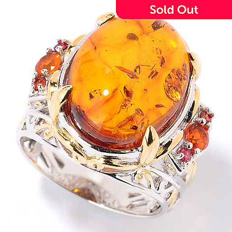 126-044 - Gems en Vogue 16mm x 12mm Baltic Amber & Fire Opal Ring