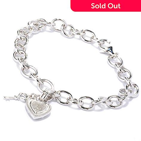 126-052 - Diamond Treasures® Sterling Silver 0.10ctw Diamond Heart & Key Charm Bracelet