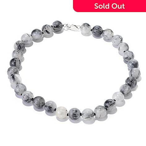 126-053 - Gem Insider® Sterling Silver Rutilated Quartz Bead Necklace