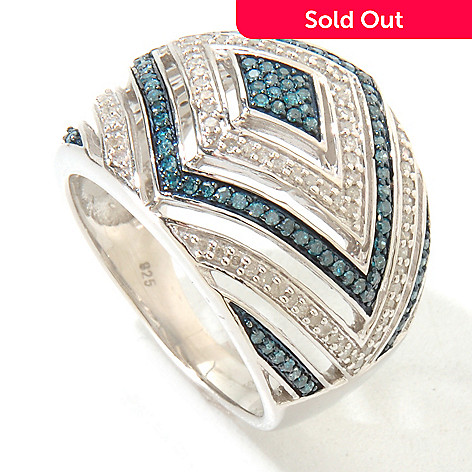 126-059 - Diamond Treasures Sterling Silver 0.60ctw Blue & White Diamond Chevron Ring
