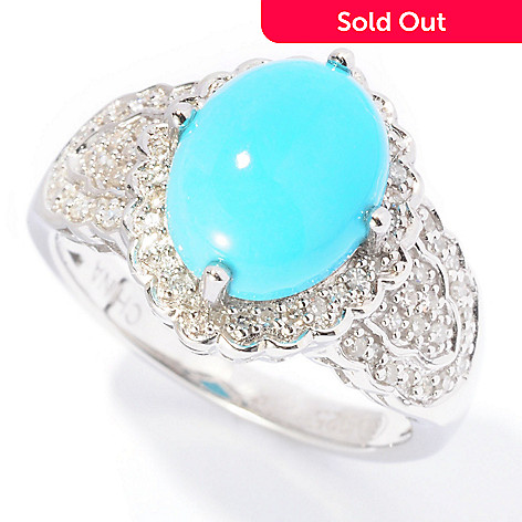 126-060 - Gem Insider™ Sterling Silver 10 x 8mm Sleeping Beauty Turquoise & Diamond Oval Ring