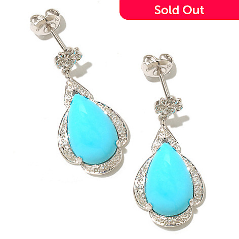 126-077 - Gem Insider™ Sterling Silver 1'' 15 x 9mm Sleeping Beauty Turquoise & Diamond Earrings