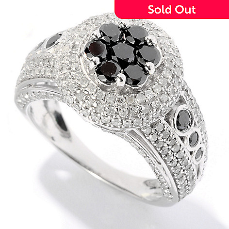 126-078 - Diamond Treasures Sterling Silver 1.75ctw Black & White Diamond Raised Round Ring