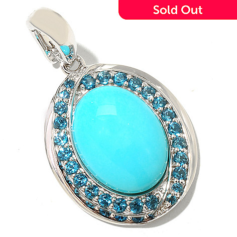 126-080 - Gem Insider® Sterling Silver 16 x 12mm Sleeping Beauty Turquoise & Blue Topaz Pendant